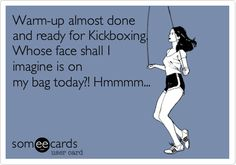 Warm-up almost done and ready for Kickboxing. Whose face shall I imagine is on my bag today?! Hmmmm...
