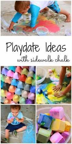Ideas for hosting a play date with a sidewalk chalk theme.  Who knew there were so many ways to play with sidewalk chalk? Toddler Play, Toddler Preschool, Toddler Crafts, Baby Play, Kid Crafts, Fun Activities For Kids, Sensory Activities, Activity Ideas, Creative Activities