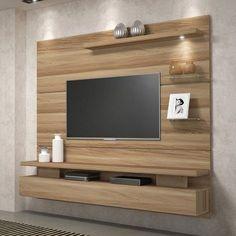 Painel suspenso para tv - dj móveis greco - teka tx เ ฟ ค дизай Tv Cabinet Design, Tv Wall Design, House Design, Tv Unit Furniture Design, Tv Unit Interior Design, Tv Unit Decor, Tv Wall Decor, Living Room Wall Units, Living Room Designs