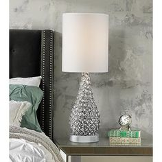 Buy Kasey Modern Accent Table Lamp Crystal Bead Silver Gourd White Drum Shade for Living Room Family Bedroom Bedside Nightstand - Possini Euro Design Glam Lamps, Silver Lamp, Gourd Lamp, Contemporary Table Lamps, Modern Table, Contemporary Interior, Room Lamp, Living Room Bedroom, Master Bedroom