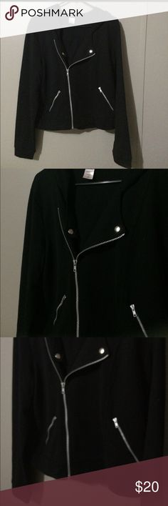 Biker style short jacket xl Reposh. Black biker style jacket. In great condition!  60% cotton 40% polyester. XL. Looks cute with a long shirt, jeggings Jackets & Coats Utility Jackets