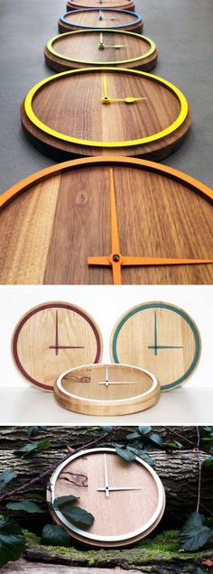 The hands of these solid wood clocks match the colorful rims to make sure the clocks are simple, fun, and modern. #ModernClock #ModernHomeDecor #WallClock #WoodWallClock