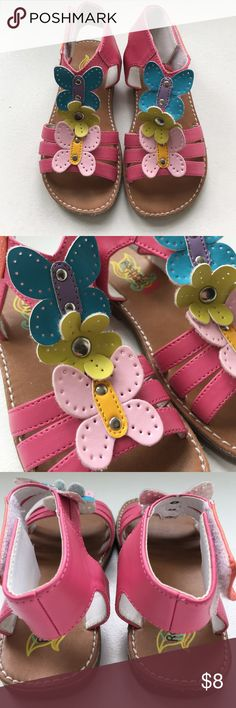 Toddler Girls Leather Butterfly and Flower Sandal Super sweet leather butterfly and flower sandals. Size 9. Sandals are hot pink with a light pink butterfly, a lime green flower and turquoise flower. Very good condition. Clean and no little piggie marks:-) Rachel Shoes Sandals & Flip Flops
