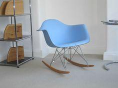 Reprodution RAR Rocking chair designed by Charles & Ray Eames Light Blue Plastic | eBay