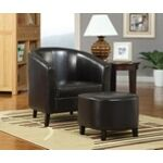 "2 Pc black leather like vinyl upholstered barrel shaped accent side chair and ottoman. Chair Measures 30"" x 29"" x 30"" H. Ottoman measures 18"" x 17"" x 16"" H. Some assembly required. - A.M.B. Furniture & Design"