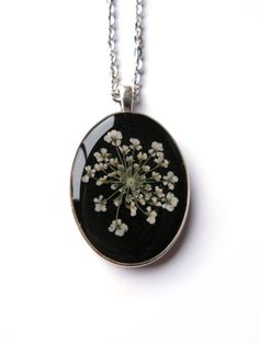 Queen Anne's Lace Resin Pendant Necklace Real by ScrappinCop
