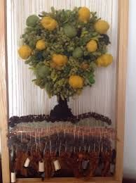 Resultado de imagen para telares decorativos de arboles Weaving Art, Tapestry Weaving, Embroidery Art, Fabric Art, Make And Sell, Grapevine Wreath, Grape Vines, Fiber Art, Textiles