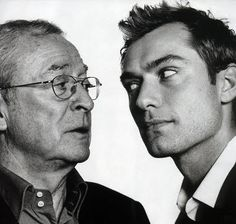 """A photo of the two """"Alfies""""- Michael Caine and Jude Law - by photographer David Bailey."""
