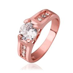 New Arrival Gold/Rose Gold Color Clear Zircon CZ  Wedding Party  Fashion Rings Finger Ring Size 8 R549 #Affiliate