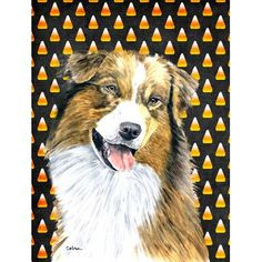 Caroline's Treasures Australian Shepherd Candy Corn Halloween House Vertical Flag