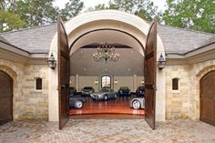 crazy home improvements of the ridiculously rich - MSN Real Estate - by the way, if you have a garage like this, I want to come see it in person! Carriage House Garage, Garage House, Car Garage, Garage Room, Porte Cochere, Garage Design, House Design, Luxury Cars, Luxury Homes