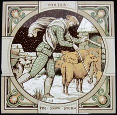 One of the Minton tiles designed by John Moyr Smith illustrating Thomson's The Seasons, 1880 Antique Tiles, Antique Pottery, Tile Art, Mosaic Tiles, Mosaics, John Minton, Minton Tiles, English Artists, Victorian Era