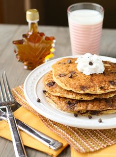 Oatmeal Chocolate Chip Pancakes made with protein-rich Greek yogurt.