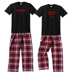 Love You, Love You More Fun Matching Couples Pajamas for Him and Her - FREE Shipping, Each Shirt-Pan