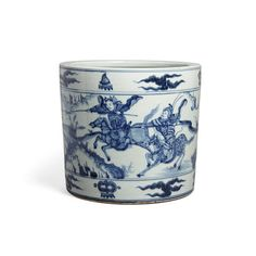 A transitional style blue and white bitong Buddhist Symbols, Military Figures, Transitional Style, Asian Art, White Ceramics, Art Decor, Auction, Chinese, Blue And White