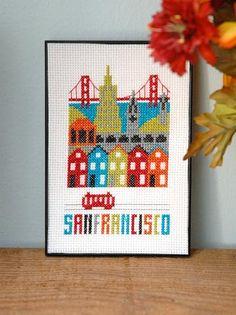 San Francisco Cross Stitch Chart Instant Download – Tiny Modernist Cross Stitch