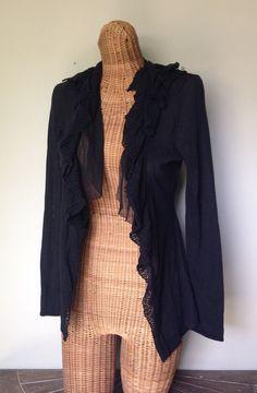 ELIE TAHARI Black Lace Silk Ruffle Knit Open Cardigan Sweater Top S 4 6 Small #ElieTahari #Cardigan #lace #sweater