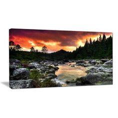 """DesignArt Rocky Mountain River at Sunset Photographic Print on Wrapped Canvas Size: 28"""" H x 60"""" W x 1"""" D"""