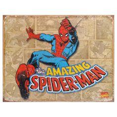 Marvel Vintage Metal Art Decorative 'Spider-Man Retro Panels' Tin Sign