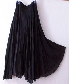 Long Black Boho Bohemian Full Panel Peasant Dress Skirt