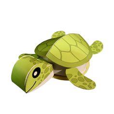 Postcard 3D-paper model Turtle