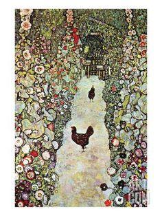 Garden Path with Chickens Art Print by Gustav Klimt at Art.com