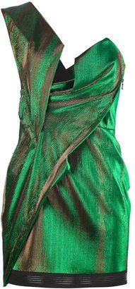 """""""Green cotton blend mini dress from Anthony Vaccarello featuring one shoulder strap and a metallic design."""" - Looks like something Loki inspired Metallic Cocktail Dresses, Green Cocktail Dress, Metallic Dress, Off One Shoulder Dress, One Shoulder Cocktail Dress, Shoulder Strap, Short Green Dress, One Sleeve Dress"""