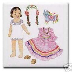 Here is a page you can save to print and cut out for a little Mexican paper doll!  You can pretend she is Frida as a TODDLER and glue the pinata to her hand in preparation for a birthday feast.  Then put on some mariachi music and make her dance!  Get a template to make her an amiga @ http://www.education.com/worksheet-image/125796/mexican-paper-doll-community-cultures.png