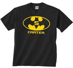 Black Custom Batman Shirt, Customizable Classic Logo Tshirt on Black. $16.00, via Etsy.