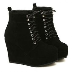 $17.23 Comfortable Women's Wedge Boots With Suede and Lace-Up Design