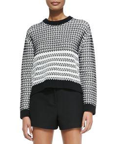 Proenza Schouler Long-Sleeve Knit Sweater & High-Waisted Shorts
