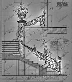 Эскизы кованых перил и лестниц от УкрКовка