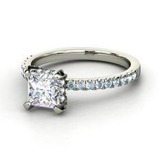 Princess Diamond Platinum Ring with Aquamarine | Carrie Princess Ring | Gemvara