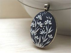 White Floral Necklace Blue Necklace Polymer Clay by Floraljewel