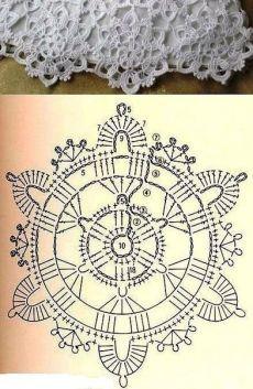 Best 12 Motive 198 in World Crochet – Craft Day Crochet Flower Squares, Free Crochet Doily Patterns, Crochet Snowflake Pattern, Crochet Doily Diagram, Crochet Snowflakes, Crochet Chart, Thread Crochet, Crochet Flowers, Crochet Stitches