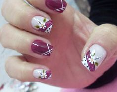 Would be really good design without the flowers. Fingernail Designs, Nail Polish Designs, Acrylic Nail Designs, Pretty Nail Art, Beautiful Nail Designs, Cute Nail Designs, Hair And Nails, My Nails, Nails Only