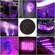 aesthetics • zodiac • neon • purple • aquarius