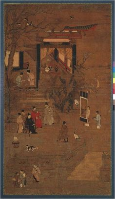 "Anonymous ""Elegant Gathering"" Goryeo to Joseon period,14 - 15th c. ""This two-piece panel, Composing a Poem and Appreciating Painting, depicts literati scholars at leisure, writing poetry and appreciating a painting."" From the Leeum Samsung Museum http://leeum.samsungfoundation.org/html_eng/collection/main.asp"