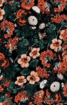 Hibiscus pattern by smileysunday - Hand illustrated floral pattern in orange and mauve on a teal background on fabric, wallpaper, and gift wrap. Bold floral pattern by indie pattern designer smileysunday. Handy Wallpaper, Look Wallpaper, Wallpaper Free, Cute Fall Wallpaper, Flower Iphone Wallpaper, Iphone Background Wallpaper, Aesthetic Iphone Wallpaper, Pattern Wallpaper, Aesthetic Wallpapers