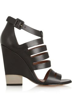 Givenchy - Cutout Black Leather Sandals With Pale Gold Metal Heel - IT39.5