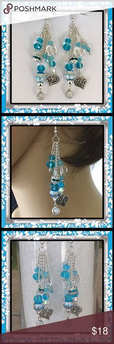 🌺🌴🌺 GORGEOUS UPSCALE EARRINGS 🌺🌴🌺 🌺🌴🌺 These one of a kind handcrafted high style dangle earrings are sure to get you compliments every time you wear them.  There are 4 lengths and each length is made up with very high quality beads.  The true quality and beauty are seen more accurately in person.  The turquoise, silver and white work so well together.  Though they were a difficult pair to make through trial and error, I'm overall happy with the outcome. 🌺🌴🌺 Fashion Flair Jewelry…