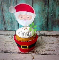 Santa Cupcake Topper ONLY ITH Embroidery Design
