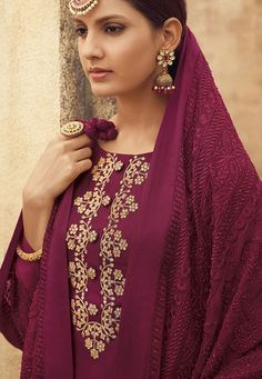 Deep Magenta Embroidered Gharara Suit features a silk kameez with zari, stone and handwork embellishments alongside a cotton satin bottom. A fully thread work and stone embellished bemberg dupatta completes the look. Anarkali Gown, Sharara, Indian Suits Online, Indian Dresses For Women, Pakistani Suits, Punjabi Suits, Buy Salwar Kameez Online, Fashion Pants, Fashion Outfits