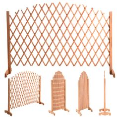 Expanding Portable Fence Wooden Screen Dog Gate Pet Safety Kid Patio Garden Lawn #Goplus