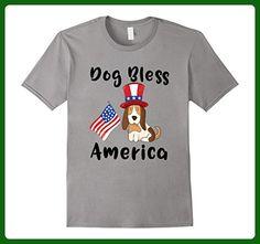 Mens Dog Bless America T-Shirt Cute USA Fourth of July Shirt  Small Slate - Animal shirts (*Amazon Partner-Link)