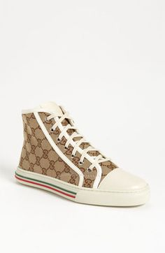 Signature stripes and a logo-jacquard upper brand the high-top profile of a classic canvas sneaker. Color(s): beige/ white. Brand: Gucci. Style Name: Gucci 'California' High Top Sneaker. Style Number: 592797. #gucci #coupay #coupons