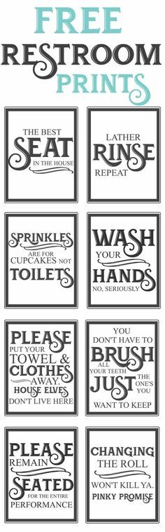 Free Vintage inspired bathroom printables-funny quotes to hang up in the restroom-farmhouse style-www.themountainviewcottage.net