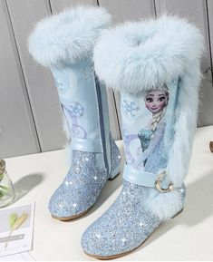 Kids Elsa Princess Shoes Boots leather Sequin Winter Fashion Boot Girls Genuine Wool Warming Over Knee boots Kids Snow Boots, Girls Winter Boots, Winter Shoes, Boots Gifts, Fur Boots, Calf Boots, Heeled Boots, Pink Shoes, Kid Outfits