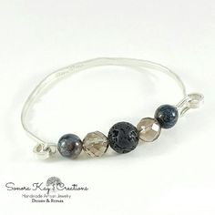 Sterling Silver  Spring Clasp Bracelet with Lava Bead to