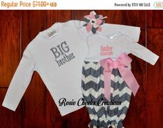 LABOR DAY SALE Big Brother Little Sister by RosieCheeksCreations